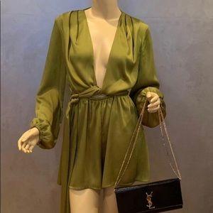 Silk Olive Green Romper